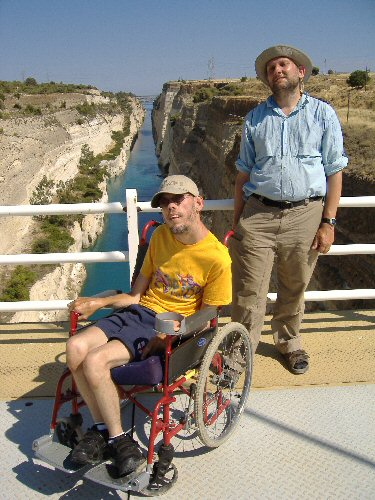 My best mate Ian and I at The Corinth Canal in Greece.